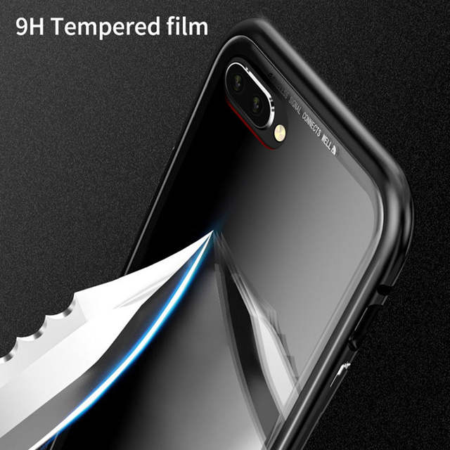 more photos 45e97 b6fa6 US $11.27 9% OFF|Aojun Ultra Magnetic Adsorption Phone Case For HUAWEI  Honor 10 Metal Absorption Back Glass Cover Case For Honor 10-in Phone Pouch  ...