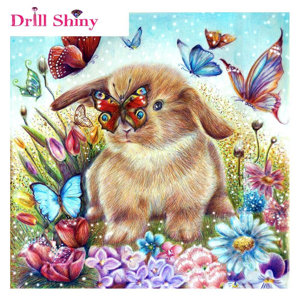 Schmuck-blitz-bohrgerät Shiny DIY 5D Diamant Stickerei Hares Schmetterlinge Diamant Malerei Kreuzstich Kaninchen Voller Diamant-mosaik Hand