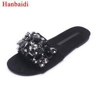 Hanbaidi Dame D'été Pantoufles Noir Strass Diamant Pantoufles Femmes À Bout Ouvert Brillant Gladiateur Sandales Femme De Mode Chaussures de Plage