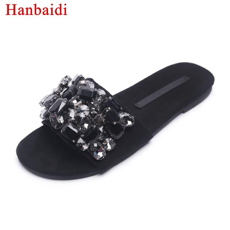Hanbaidi Lady Summer Slippers Black Rhinestone Diamond Slippers Women Open Toe Shiny Gladiator Sandals Woman Fashion Beach Shoes карабин black diamond black diamond rocklock twistlock
