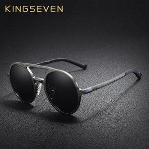 Image 3 - KINGSEVEN aluminium męskie okrągłe okulary spolaryzowane mężczyźni Punk Vintage akcesoria do okularów okulary jazdy Retro okulary przeciwsłoneczne
