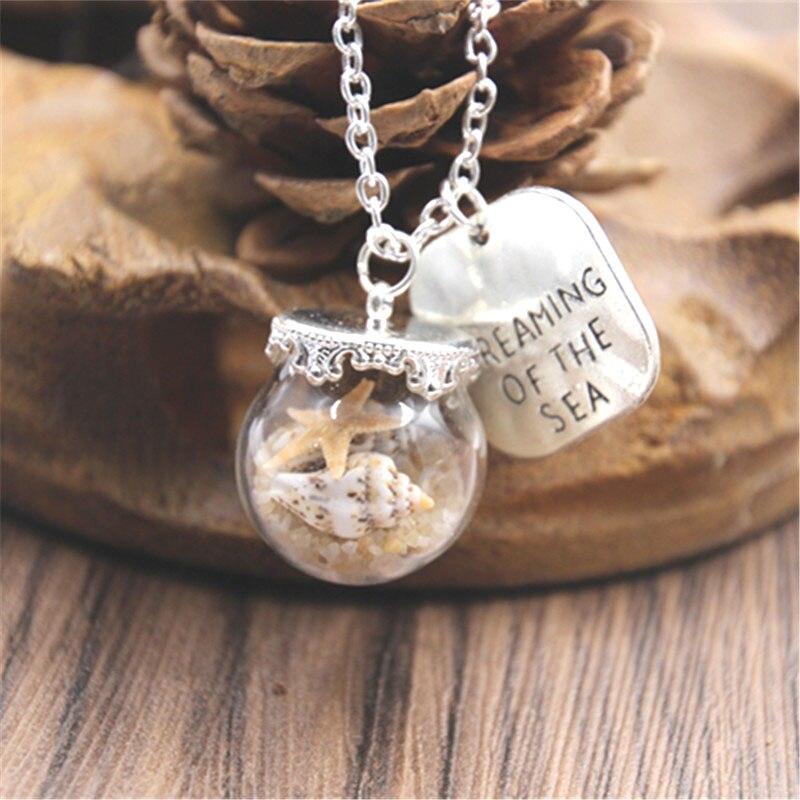Miniature Plage Globe Sable Étoile de mer ton argent collier plage Verre Bijoux