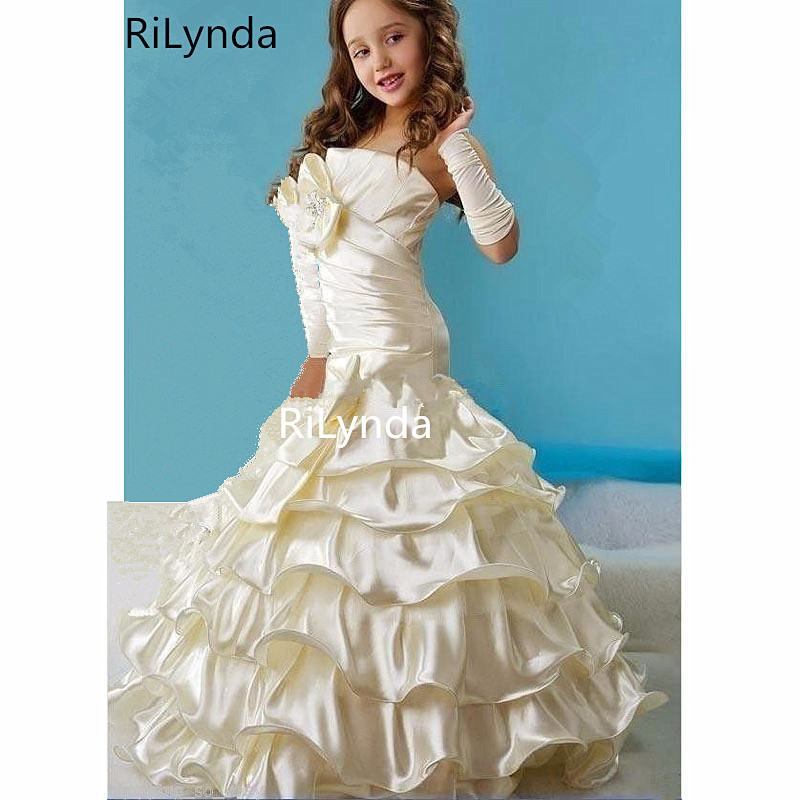 Hot Strapless Ball Gown   Flowers     Girl     Dress   For wedding party Bow Ruffle Formal   Dresses     Girl's   Pageant Gowns Floor-length