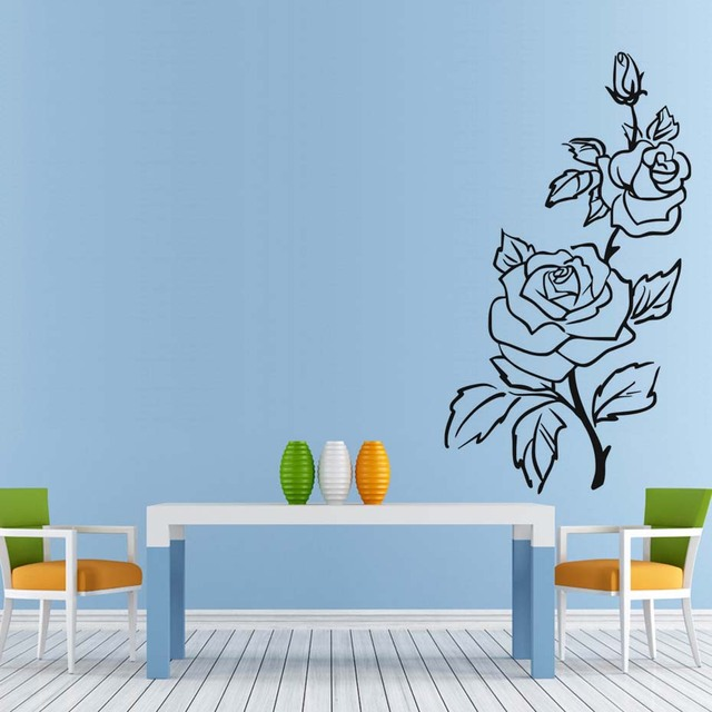 Black Rose Flower Wall Sticker Nature Plant Stickers Romantic Love Kitchen  Wall Decals Removable Vinyl Art