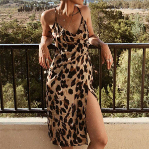 Женское платье с леопардовым принтом, Повседневные Вечерние платья без рукавов, Клубная одежда, облегающие летние платья