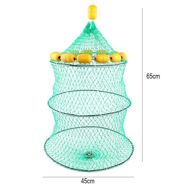 Portable Fishing Net 3 Layers Collapsible Fish Network Casting Nets Crayfish Shrimp Catcher Tank Trap China Cages Mesh lawaia 25m long 1m high casting nets fishing nets pull pull net farms railing anti bird netting fish ponds dragnet