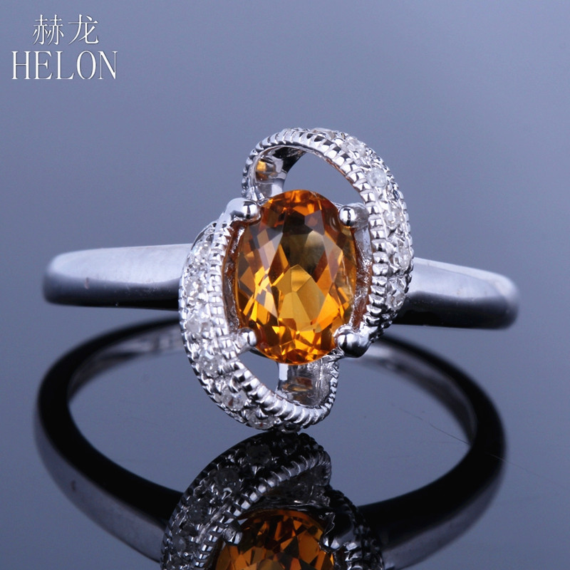HELON Real 14K White Gold Gorgeous 5x7mm Oval 100% Genuine Natural Citrine Ring Women Engagement Diamond Ring Party Jewelry Gift