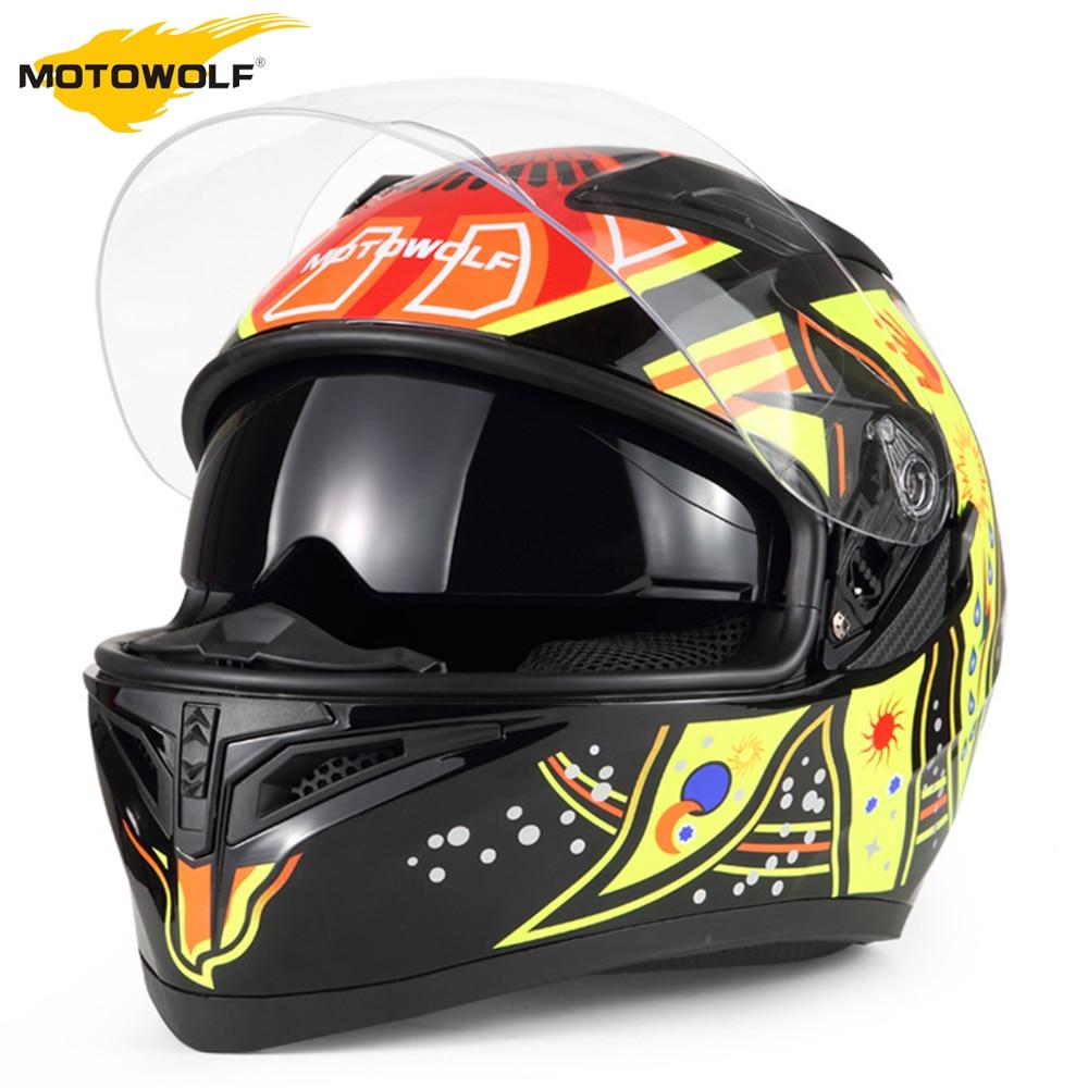 MOTOWALF Motorcycle Helmet Flip Up Casco Moto Men Moto Helmet With Inner Sun Visor Safety Double Lens Racing Full Face Helmets цена 2017