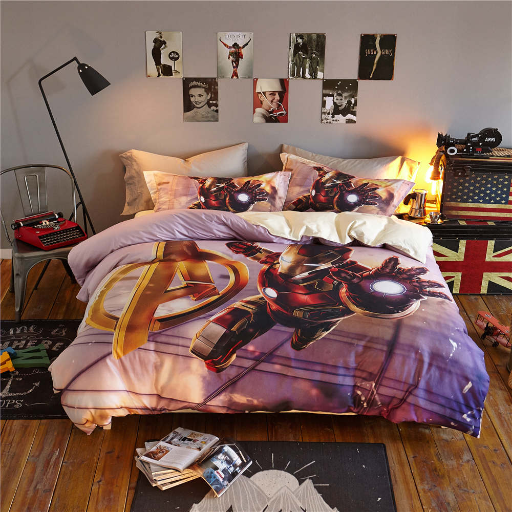 Captain America Iron Man 3D Printed Bedding Set Bedspread Coverlets Duvet Cover Single Twin Full Queen Size Cotton Woven Purple