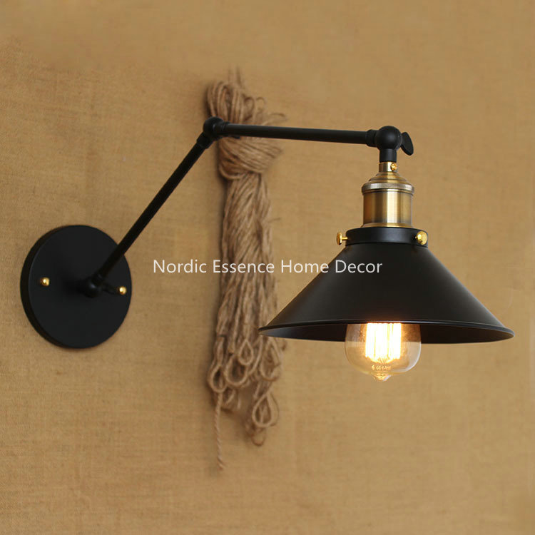 Nordic American country pastoral style minimalist matte black bedside aisle warehouse hotel bar long arm wall lamp free shipping