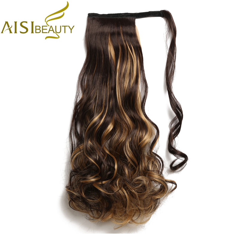 AISI BEAUTY 22 Inch Long Wavy Ponytails Clip In Synthetic Pony Tail False Fake Hair Extensions Wrap Round Hairpiece For Women