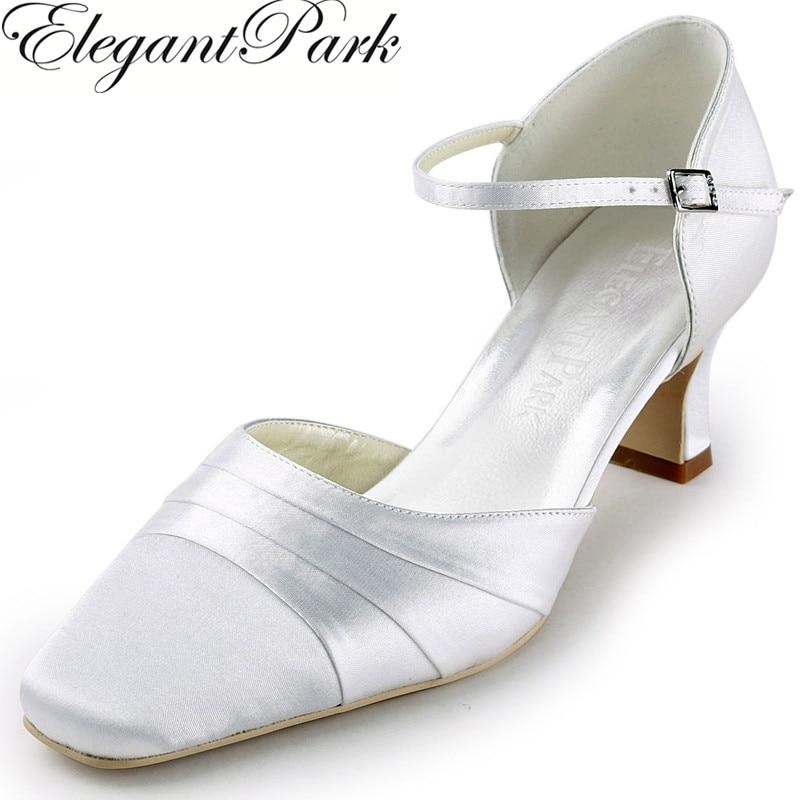 цена на Shoes Woman Pumps EP11110 White Square Toe Med Chunky Heel Satin Women's Wedding Bridal Shoes Evening Prom Pumps lady Shoes