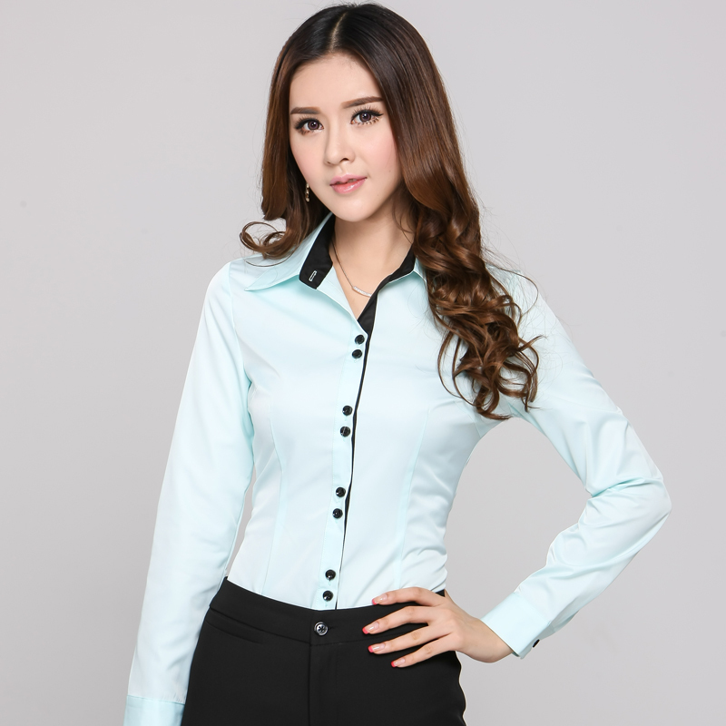 New 2015 autumn formal shirts women work blouses long for Ladies shirts and tops blouses