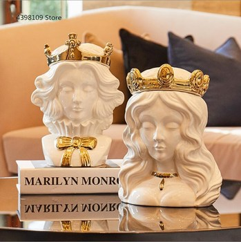 Nordic ceramic statue decoration king storage tank fashion home porch living room personality decoration Christmas gifts