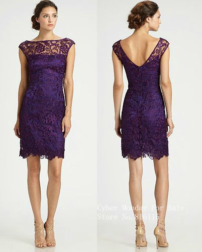 Free Shipping Purple Lace Bridesmaid Dresses 2015 Short with Cap Sleeves Sheer Illusion Bateau Sheath Dresses Cheap