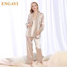 2017 Nouvelles Femmes Satin de Soie Pyjamas Pyjamas Pyjamas Chemise De Nuit Sexy Robes Peignoir Longue Femme Nuit Robe STZ305
