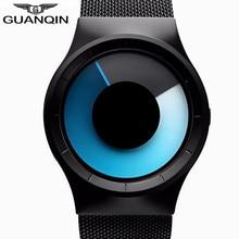 GuanQin Original Novo Marca Homens Malha Relógio Cinta de Aço de Quartzo esporte Relógios Para Homens de Estilo Oceano Azul Projeto Original de Luxo relógio