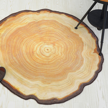 Natural Antique Wood Tree Annual Ring Round Environmental Carpet For Living Room Bedroom Study Tapis Non-slip Chair Mat Rug
