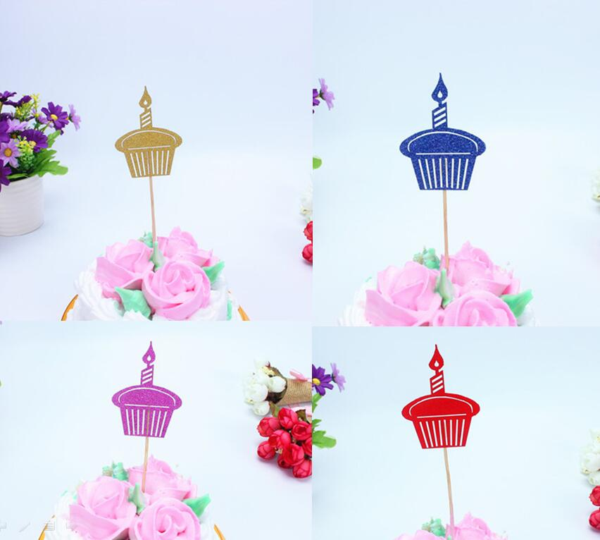 1pc Multi Colors Happy Birthday Cake Flag Topper Cake Candle Flags