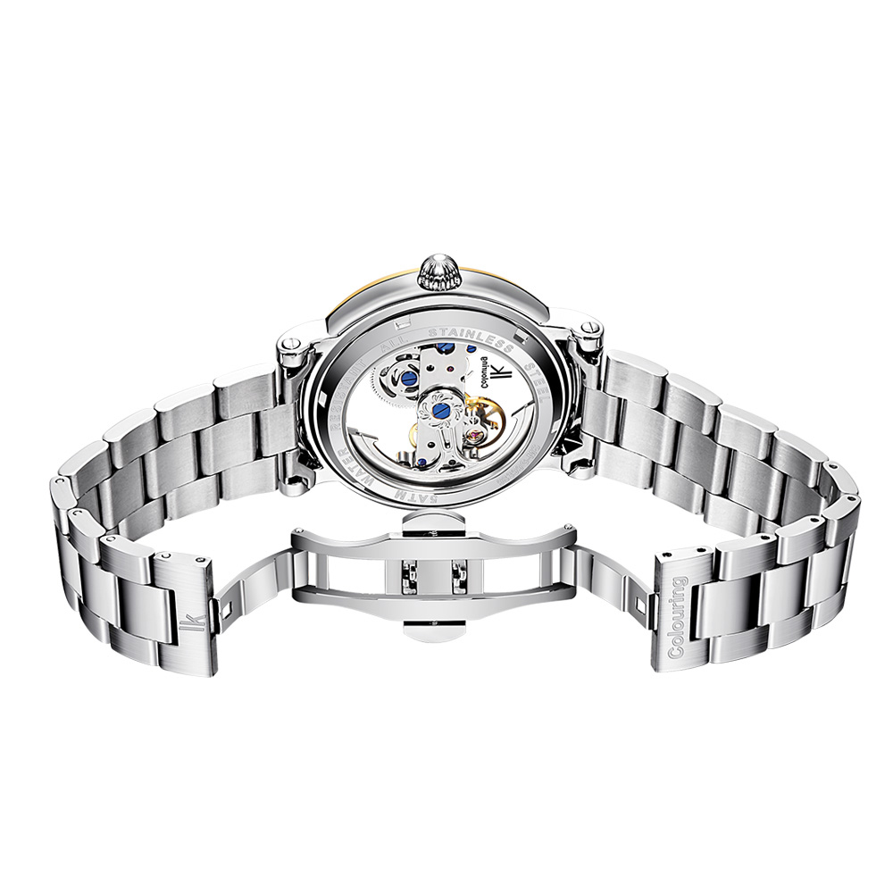 IK Coloring Original Men's Mechanical Bridge Skeleton Watch Stainless Steel Male Clock Automatic Relogio Masculino