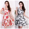 Free shipping new 2016 print dress summer dress temperament elastic Slim printed women dress plus size For Women Fashion