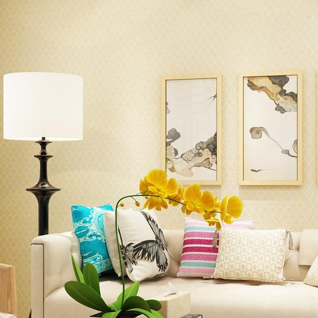 Modernen Einfarbig Nordic Wandpapierrolle Kleine Gitter Vlies Tapete Für  Schlafzimmer Wände Beige, Grün Gelb Grau