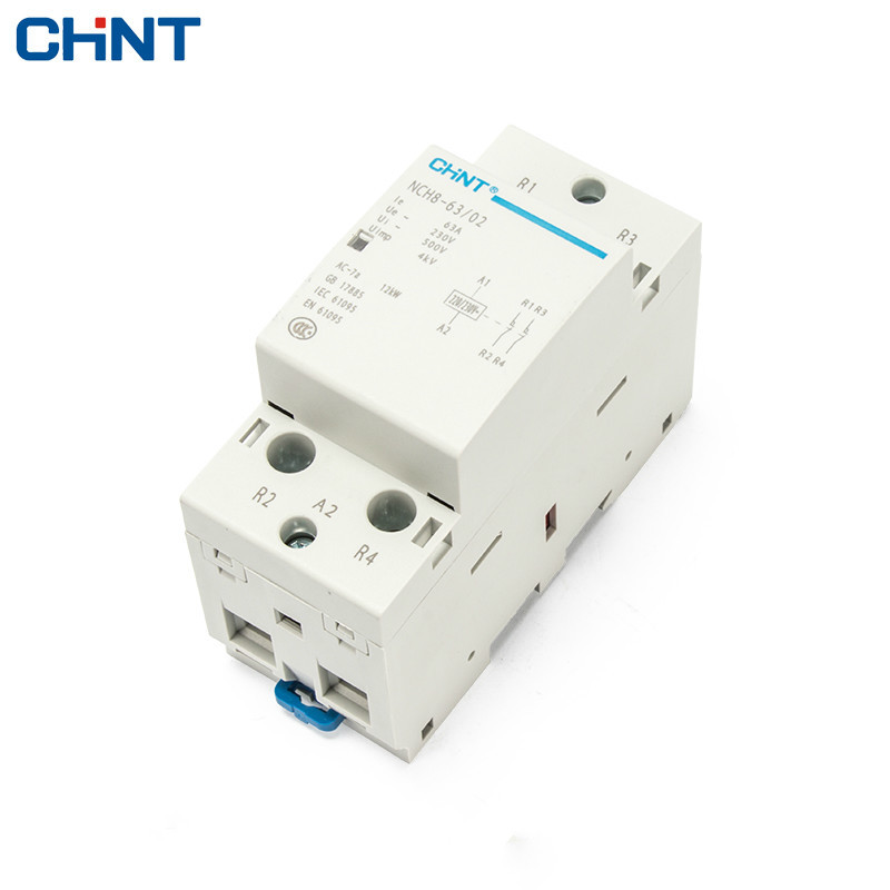CHINT Household Small-sized Single-phase Communication Contactor 220V Guide Type Two Often Close 63A Security 2P sayoon dc 12v contactor czwt150a contactor with switching phase small volume large load capacity long service life