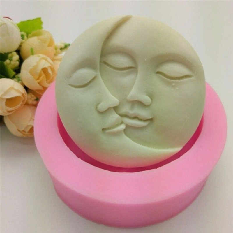 Pink Cake Mold Round Shape Sun Moon Faces Silicone Mold DIY Fondant Chocolate Soap Cake Decorating Tools Kithen Baking Tool