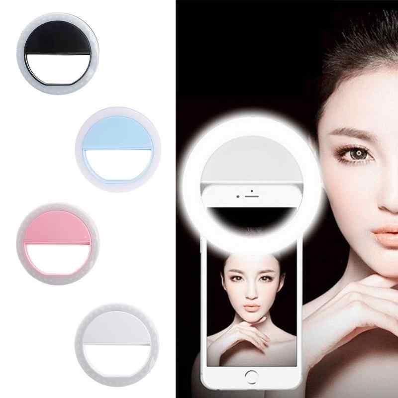 العالمي المحمولة LED فلاش ملء تضيء Selfie مضيئة مصباح الهاتف الدائري آيفون 6 6S زائد 7 7 8 Plus X