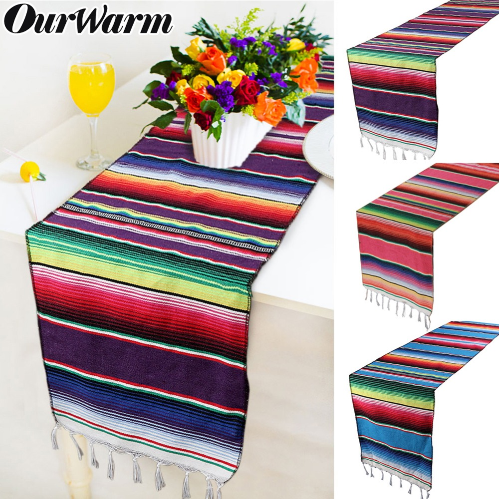 OurWarm 3 Colors Mexican Party Serape Cotton Tablecloth ...
