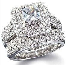 Victoria Wieck Majestuosa Sensación 134 Unids Topacio Simulado Diamante 14KT Oro Blanco GF anillo de Boda Anillo Set Sz 5-11 El Envío libre