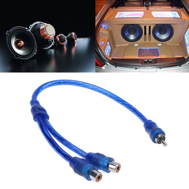 1pc 30cm 2 RCA Female to 1 RCA Male Splitter Cable Converter Cord Adapter Cable for Car Audio System DVD CD MP3 Player Hot Sale