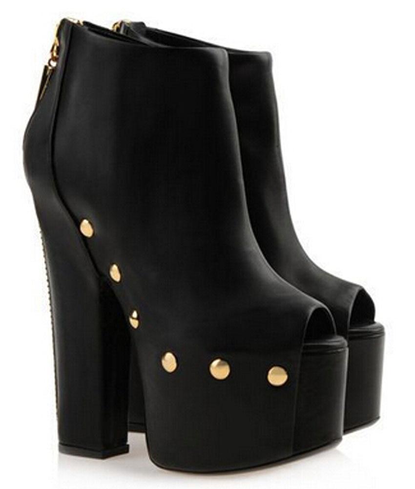 newest design Retro peep toe booties woman pumps platform high heel motorcycle boots square heel woman dress shoes newest solid flock high heel pumps woman