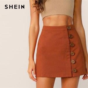 Image 3 - SHEIN ボタンフロントスカート韓国スタイルブラウンハイウエスト A ラインスカート 2019 春夏の女性のミニスカート