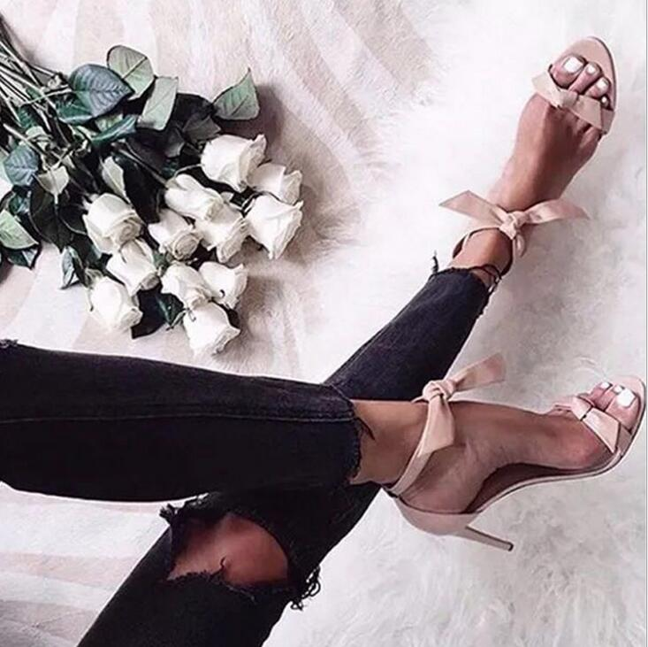 Energetic Sexy Women Sandals Summer Lace Up Women Sandals High Heels Thin Heels Weeding Women Shoes Women's Suede Strap Sandals Plus Size