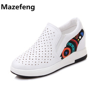 Spring Summer New Loafer Breathable Women Shoes Fashion White Shoes Woman Graffiti Zapatos Mujer A044 Chaussure