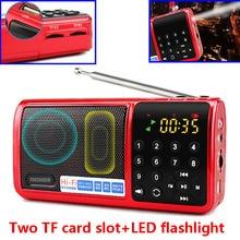 N-519 Мини Портативный 70 МГц~ 108 МГц fm-радио динамик TF USB MP3-плеер два слота для карт TF светодиодный фонарик с функцией использования аккумулятора 18650