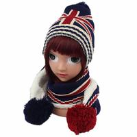 Winter Children Hat Scarf Rice Word Jacquard Knitted Baby Kids Beanie Caps Neck Warmers Gloves Suits