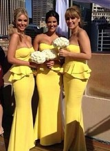 Bridesmaid Dresses Mermaid Strapless Graceful Lotus Leaf Side Yellow Chiffon Bride Gowns Maid Of Honor Dress Vestido Madrinha