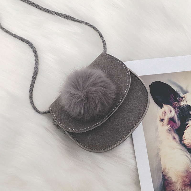 ABDB-New Children Girls Cute Hairball Leather Messenger Bag Handbag Shoulder Bag for Baby Girls Mini Crossbody Bag new cute kids tote girls shoulder bag mini bag bowknot handbag designer pu children baby tassel messenger bag women bag