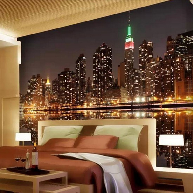 Custom 3d mural photo wallpaper bright city lights night for City lights mural