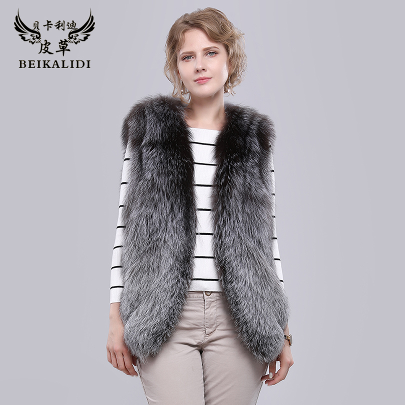 BEIKALIDI Women Real Fox Fur Vest 100% Natural Fur Phoenix Tail Design Women's Winter Jacket Female Genuine Fur Waistcoat