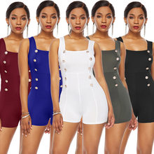 Adogirl solid slash neck sleeveless women playsuit golden button spaghetti strap tight suits back zipper girls jumpsuits(China)