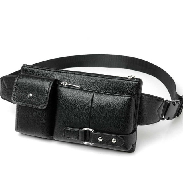 Luxury Brand Waist Bag Men Leather Fanny Pack Chest Bag Male Casual Belt Bags Sling Crossbody Bum Bag Belly Waist Packs heuptas