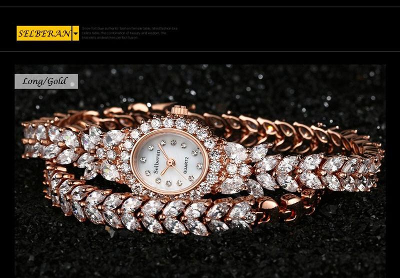 16 50M Waterproof Selberan Gold/Silver Natural Zircon Wrist Watch for Women Luxury Ladies Bracelet Watch Montre Femme Strass 14