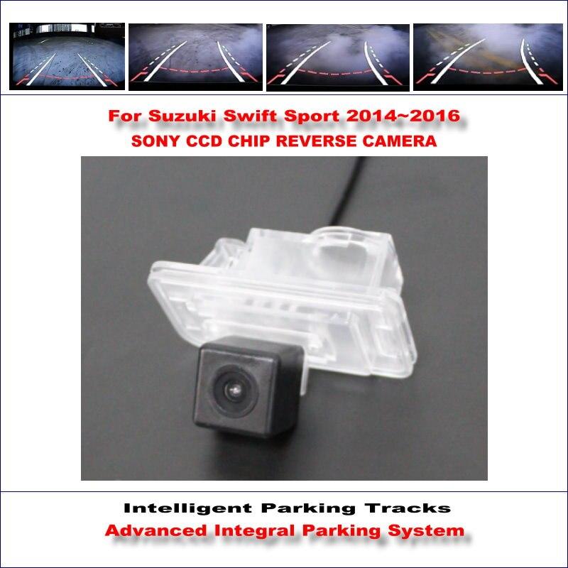 ФОТО HD CCD SONY Rear Camera For Suzuki Swift Sport 2014~2016 Intelligent Parking Tracks Reverse Backup / NTSC RCA AUX 580 TV Lines