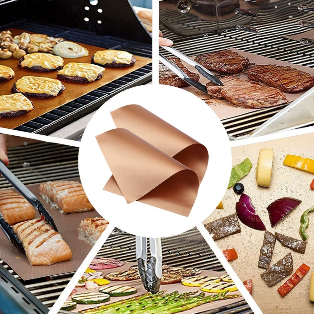 2 Pcs Kitchen Copper Chef Grill Mats Outdoor BBQ Tools Barbecue Roast Sheet Drop Shipping 40*33cm/34*23.5cm