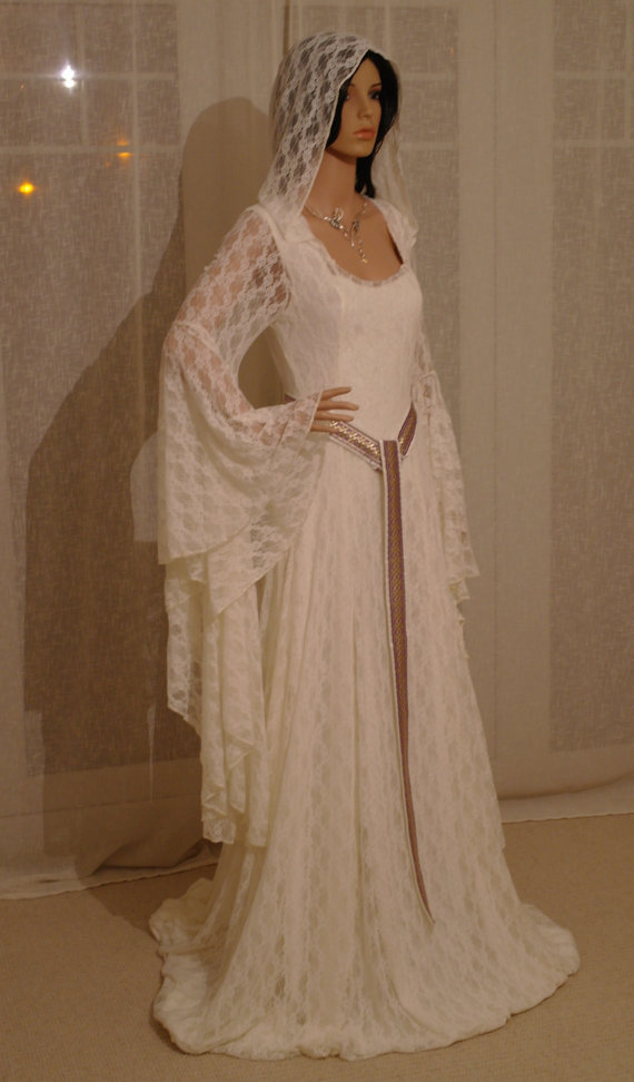Elven Ivory Lace Dress with Hood Comicon Renaissance Medieval ...