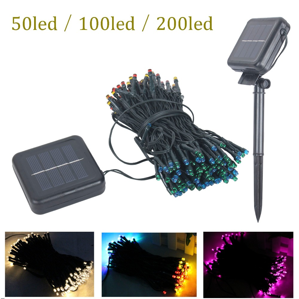 Outdoor Lights String Led: 50/100/200 LED Outdoor Solar Lamps LED String Lights Fairy