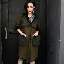 Winter Natural Double-faced Fur Long Coat Women Real Lamb Fur Overcoat Genuine Sheepskin Suede Warm Jacket Pockets 161128-4